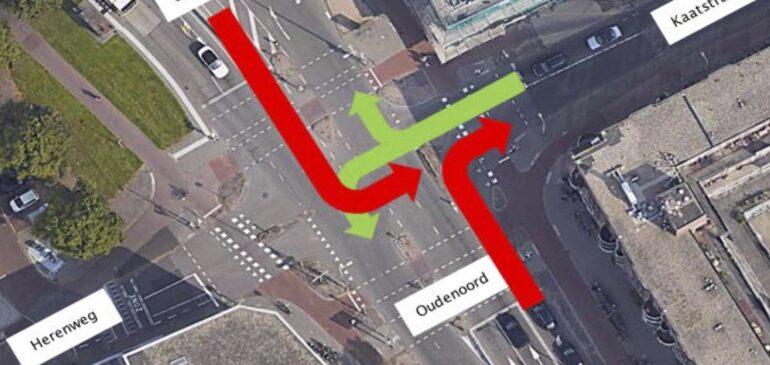 Afslagverbod van Oudenoord naar Kaatstraat